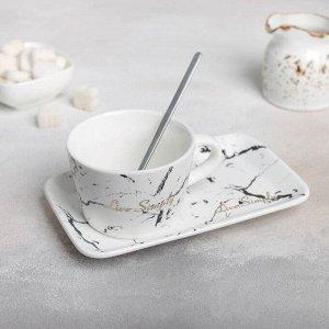 Чайная пара «Мрамор», чашка 250 мл, блюдце, ложка, цвет белый