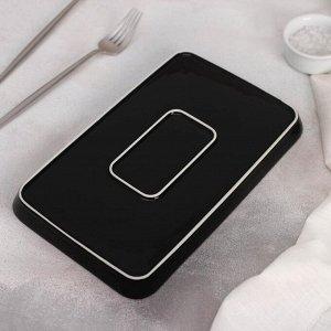 Блюдо прямоугольное «Зигзаг», 25,5?16,5 см, цвет чёрный