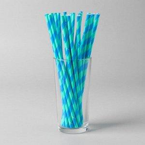 Трубочки для коктейля «Спираль», набор 25 шт., цвет бирюзово-синий