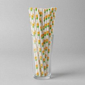 Трубочки для коктейля «Ананасы», набор 25 шт.