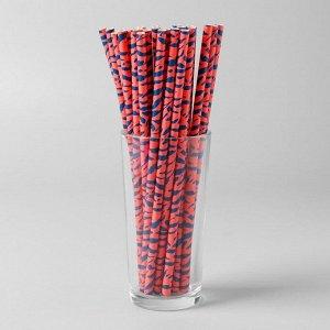 Трубочки для коктейля, набор 25 шт., цвет оранжевый