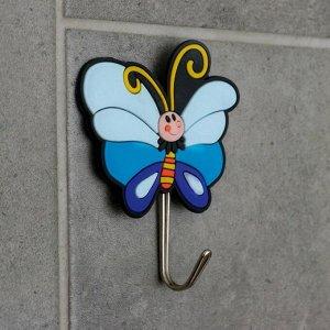 Крючок-наклейка «Бабочка», цвет синий 3619120