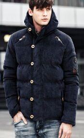 Утепленная вельветовая куртка с капюшоном