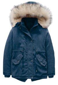Утепленная вельветовая куртка с меховой опушкой на капюшоне