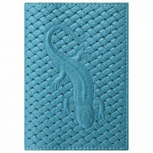 """Обложка для паспорта натуральная кожа плетенка, с ящерицей, бирюзовая, STAFF """"Profit"""", 237202"""