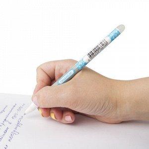 Ручка стираемая гелевая ПИФАГОР, СИНЯЯ, корпус двухцветный, узел 0,5 мм, линия письма 0,35 мм, 142496