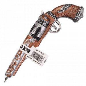 """Ручка фигурная """"ОРУЖИЕ"""", СИНЯЯ, 4 дизайна ассорти, 0,5 мм, дисплей, BRAUBERG, 142755"""