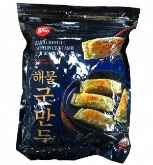 Дамплинги, д/ж с морепродуктами /Allgroo Seafood dumpling for fry, Ю.Корея, 800 г, (8)