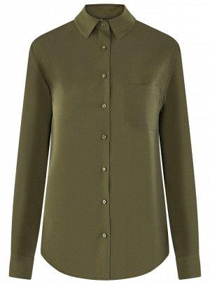 Блузка прямого силуэта с нагрудным карманом
