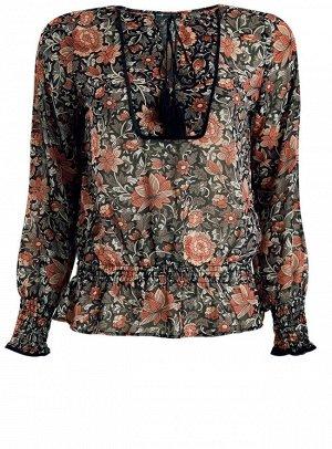 Блузка принтованная с кисточками и резинками