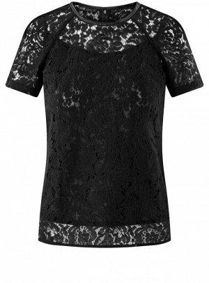 Блузка кружевная с коротким рукавом