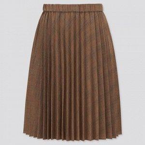 Детская юбка плиссированная, коричневый