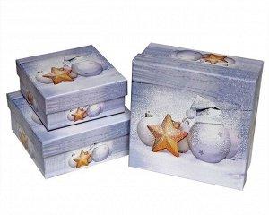 """Набор подарочных коробок КВАДРАТ 3в1 """"Новогодние игрушки"""""""