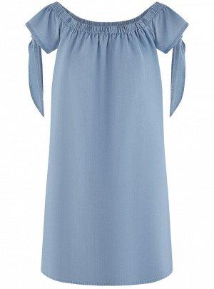 Платье вискозное с завязками на рукавах