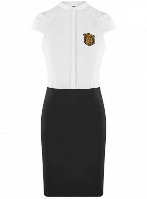 Платье комбинированное с вышивкой
