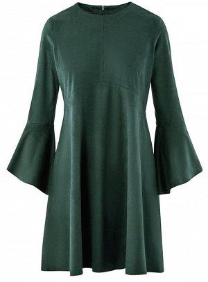 Платье из искусственной замши с воланами