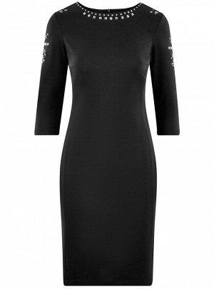 Платье приталенное с металлическим декором