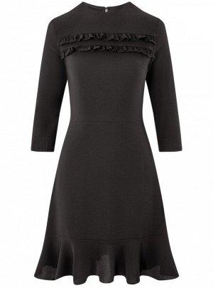Платье приталенное с рюшами