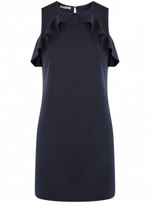 Платье прямого силуэта с воланами