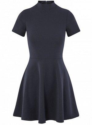 Платье с воротником-стойкой и расклешенным низом