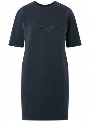 Платье прямого силуэта с надписью на груди