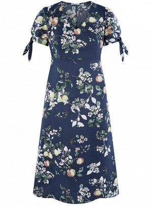 Платье приталенное с V-образным вырезом