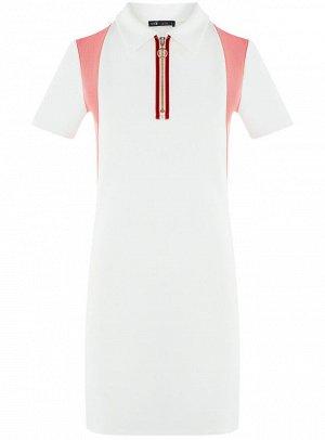 Платье приталенное с коротким рукавом