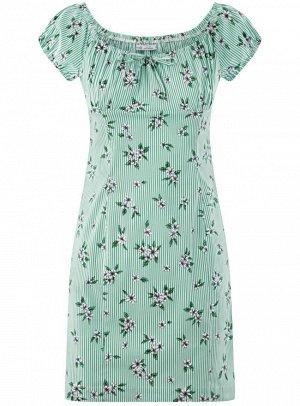Платье хлопковое со сборками на груди