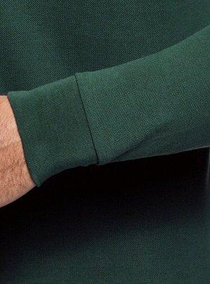 Поло из ткани пике с длинным рукавом