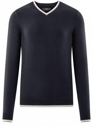 Пуловер с V-образным вырезом и контрастной отделкой