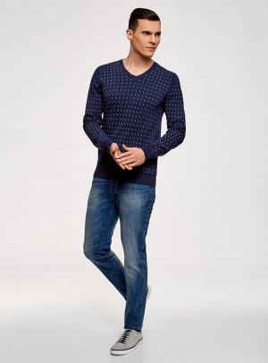 Пуловер хлопковый в мелкую графику
