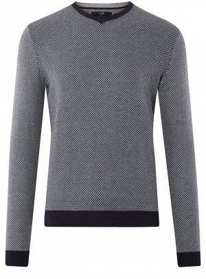 Пуловер фактурный с контрастной отделкой