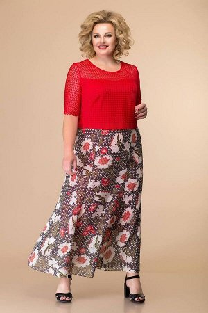 Платье Romanovich Style 1-1789 красный\крупный_принт