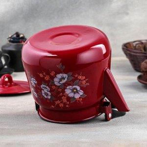 Чайник сферический 3,5 л, с петлёй, цвет вишнёвый/чёрный рябчик