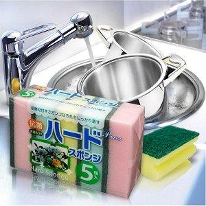 """""""AJWA"""" Губка для мытья посуды с абразивным слоем (жёсткая) 5 штук. 1/200"""