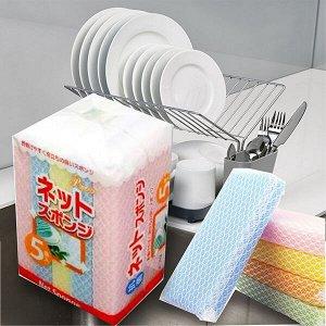 """""""AJWA"""" Губка для мытья посуды с покрытием-сеточкой 5 штук."""