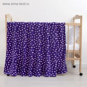 Плед «Сердечки» цвет фиолетовый 160200 см, пл. 230 г/м, 100% п/э