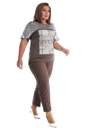 """Брюки-2608 Модель брюк: Дудочки; Материал: Искусственный шелк стрейч;   Фасон: Брюки Брюки 7/8 """"Лайт"""" капучино Однотонные брюки-стрейч отлично подойдут для повседневного гардероба. Модель отлично сиди"""