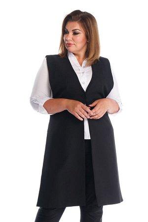 Жилет-2390 Жилет удлиненный с 1 пуговкой черный     Элегантный стильный жилет выполнен из мягкого материала без подкладки. Удлиненная модель прямого силуэта имеет глубокий V-образный вырез. Застеги
