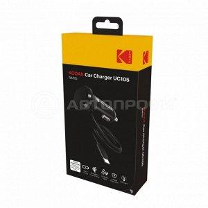 Зарядное устройство KODAK UC105 Quick Charge 3.0, 12-24В, 1,2м, подсветка, mini USB
