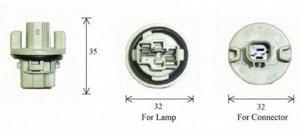 Разъем для лампы дополнительного освещения T20 W3x16d  C1881B