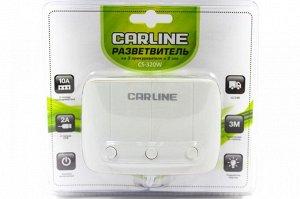 Разветвитель прикуривателя CARLINE CS-320W на 3 гнезда на 10A и 2 USB на проводе,цвет белый, cs320w