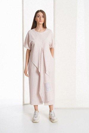 Платье Rami Артикул: 5049 пыльно-розовая_молочная_полоска