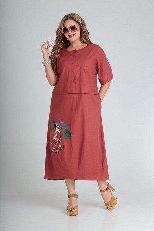 Платье Andrea Style 00254 терракот
