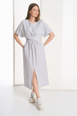 Платье Rami Артикул: 5049 пыльно-синяя_молочная_полоска