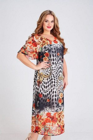 Платье Ксения Стиль Артикул: 1758 оранжевый
