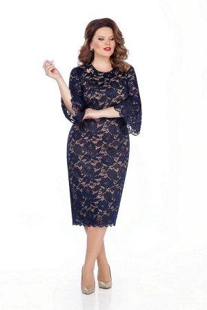 Платье TEZA 263 синий-беж