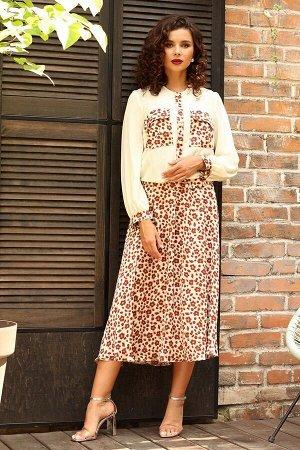 Платье Мода Юрс Артикул: 2553 молочный_леопард