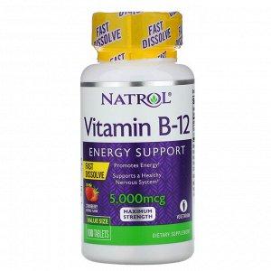 Natrol, Витамин B12, быстрорастворимый, максимальная эффективность, клубника, 5000 мкг, 100 таблеток