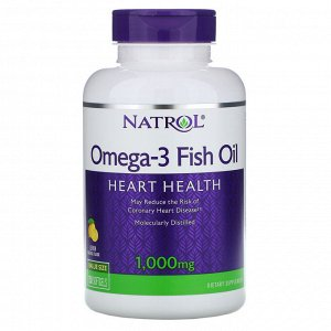 Natrol, Рыбий жир омега-3, натуральный лимонный вкус, 1000 мг, 150 мягких таблеток